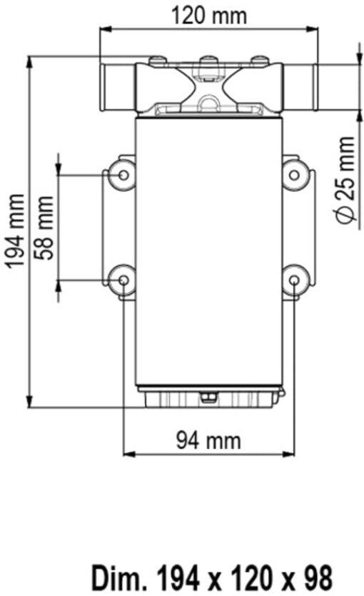 Marco UP1-M Pump, rubber impeller 11 gpm - 45 l/min (24 Volt) 4
