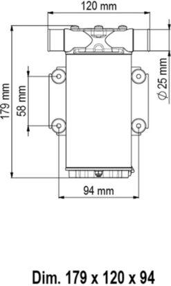 Marco UP1-N Pump, rubber impeller 9.25 gpm - 35 l/min (12 Volt) 6