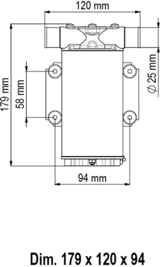 Marco UP1-N Pump, rubber impeller 9.25 gpm - 35 l/min (12 Volt) 3