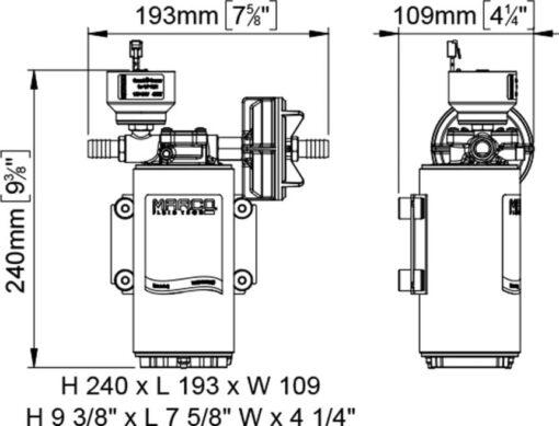 Marco UP10/E-BR 12/24V bronze gear pump with electronic pressure sensor 4.8 gpm - 18 l/min 7