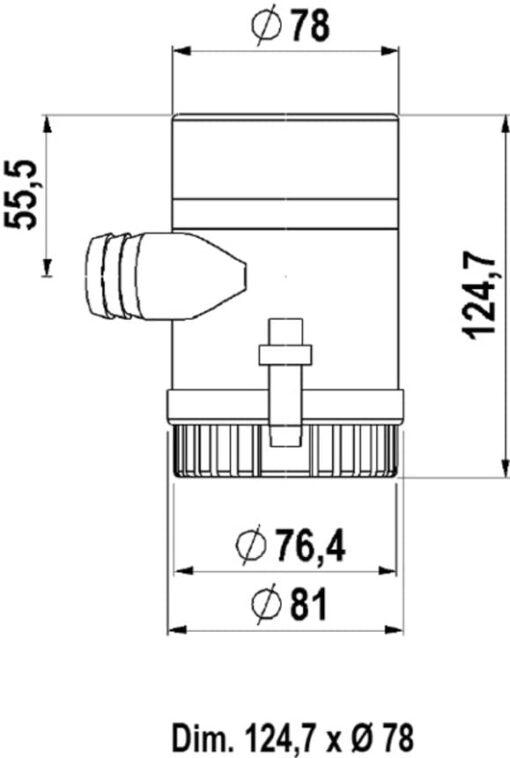 Marco UP1000 Submersible pump 1000 gph - 63 l/min (24 Volt) 3