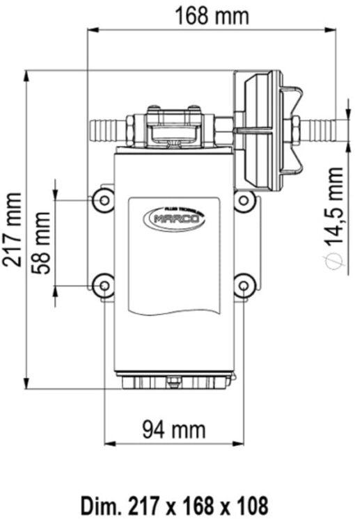 Marco UP10 Heavy duty pump 4.8 gpm - 18 l/min (24 Volt) 6