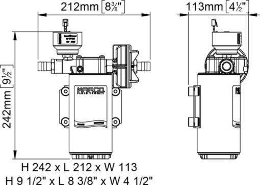 Marco UP12/E-BR 12/24V bronze gear pump with electronic pressure sensor 9.5 gpm - 36 l/min 8