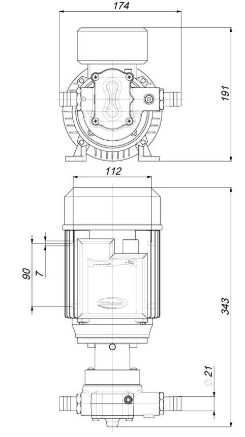 Marco UP14/AC 220V 50 Hz Gear pump PTFE 11.6 gpm - 44 l/min 6