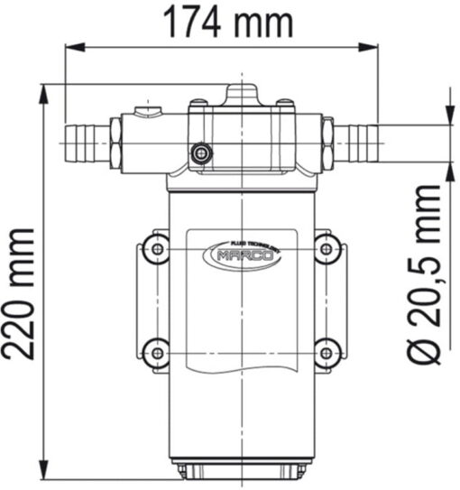 Marco UP14-P PTFE Gear pump 12.2 gpm - 46 l/min (24 Volt) 6