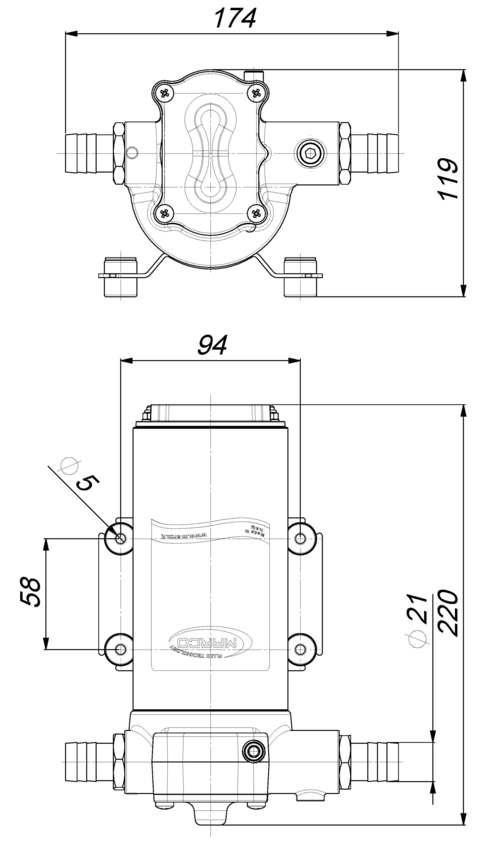 Marco UP14 Bronze gear pump 12.2 gpm - 46 l/min (12 Volt) 6