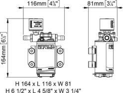 Marco UP2/E-BR 12/24V bronze gear pump with electronic pressure sensor 2.6 gpm - 10 l/min 11