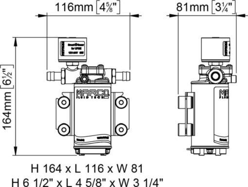 Marco UP2/E-BR 12/24V bronze gear pump with electronic pressure sensor 2.6 gpm - 10 l/min 5