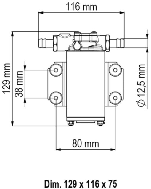 Marco UP2-P PTFE Gear pump 2.6 gpm - 10 l/min (12 Volt) 4