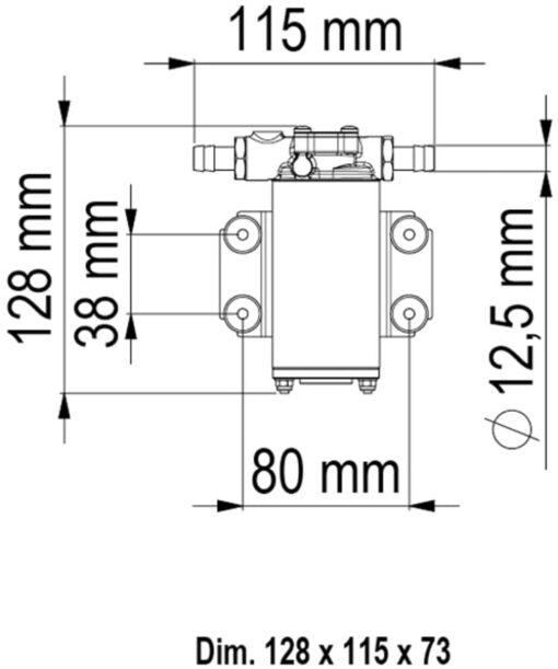 Marco UP2 Bronze gear pump 2.6 gpm - 10 l/min (24 Volt) 4