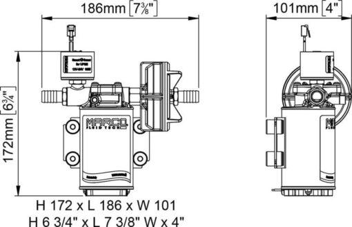 Marco UP3/E-BR 12/24V bronze gear pump with electronic pressure sensor 4 gpm - 15 l/min 8