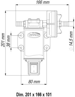 Marco UP3-S Gear pump 4 gpm - 15 l/min with integrated on/off switch (24 Volt) 9