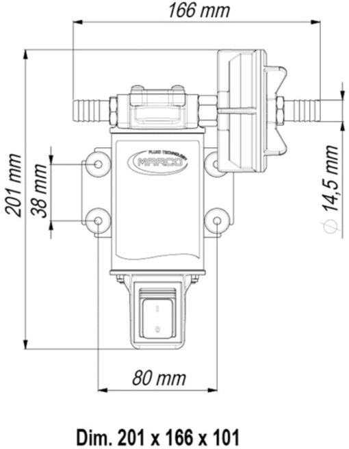 Marco UP3-S Gear pump 4 gpm - 15 l/min with integrated on/off switch (24 Volt) 6