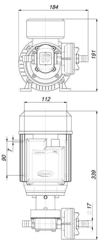 Marco UP6/AC 220V 50 Hz Gear pump PTFE 7.4 gpm - 28 l/min 6