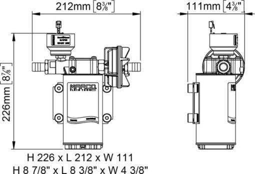 Marco UP6/E-BR 12/24V bronze gear pump with electronic pressure sensor 6.9 gpm - 26 l/min 7