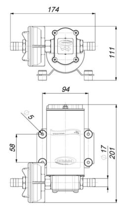 Marco UP6-P PTFE Gear pump 6.9 gpm - 26 l/min (12 Volt) 9