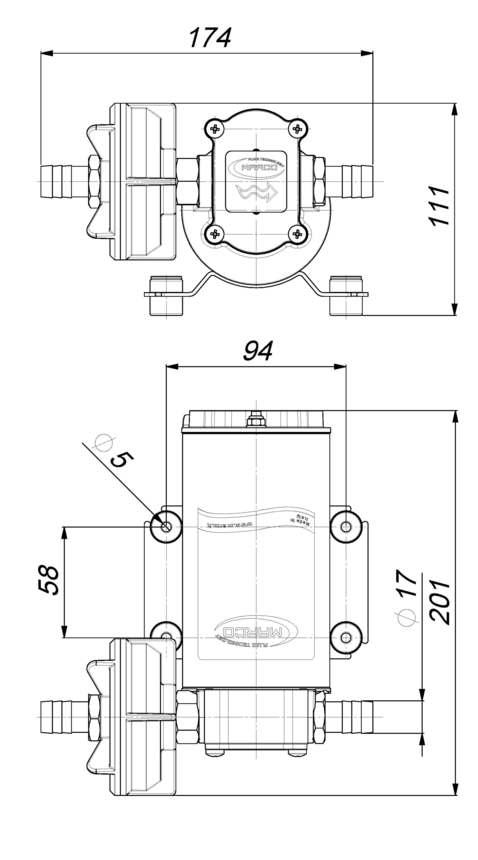 Marco UP6-P PTFE Gear pump 6.9 gpm - 26 l/min (12 Volt) 6