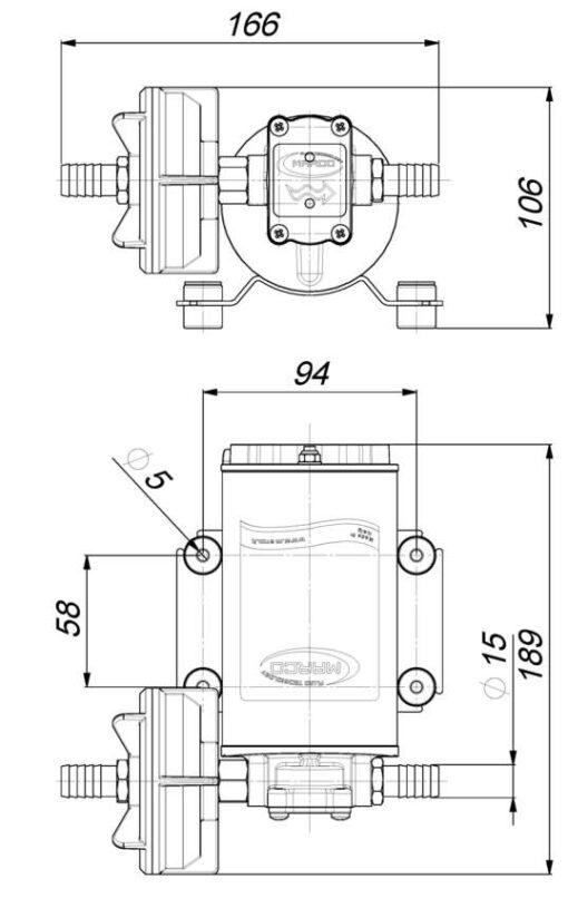 Marco UP9 Heavy duty pump 3.2 gpm - 12 l/min (12 Volt) 6