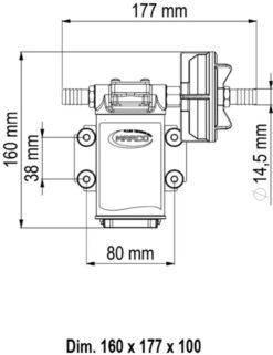 Marco UPX Gear pump 4 gpm - 15 l/min - s.s. AISI 316 L (12 Volt) 9