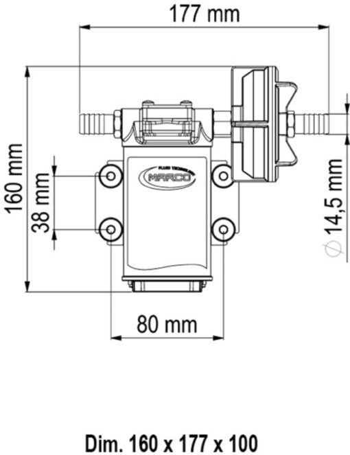 Marco UPX Gear pump 4 gpm - 15 l/min - s.s. AISI 316 L (12 Volt) 6
