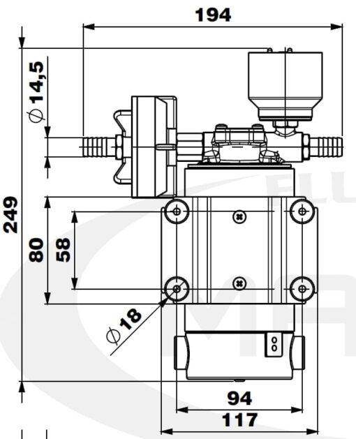 Marco DP12/E Deck washing pump + electronic control 5 bar - 72.5 psi 4