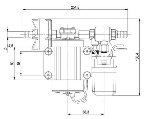 Marco DP9 Deck washing pump kit 4 bar - 58 psi (24 Volt) 7