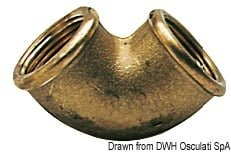 "Brass 90° elbow female/female 3/8"" 3"