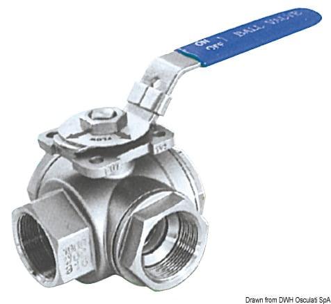 """3-way ball valve AISI 316 1""""1/4 2"""