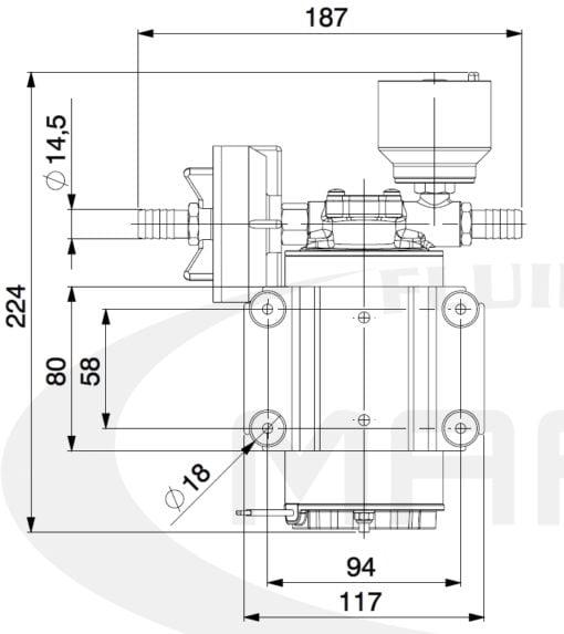 Marco DP9/E Deck washing pump + electronic control 4 bar - 58 psi 7