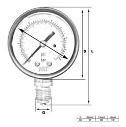 Pressure Gauge100 mm Glycerine Filled Radial connection 6-16-40-100  bar 3