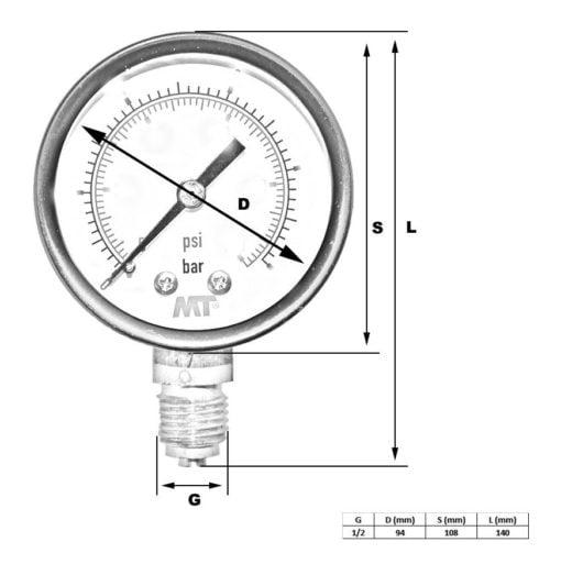 Pressure Gauge100 mm Glycerine Filled Radial connection 6-16-40-100  bar 2