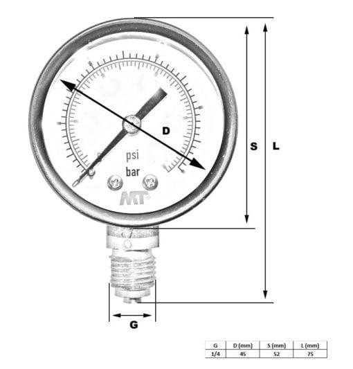 Dry Sphere Pressure Gauge50 mm Radial or Rear connection 2,5-4-6-10-16  bar 3
